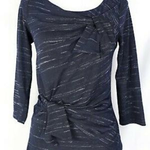 Anthropologie Navy Space Dye Bow 3/4 sleeves top